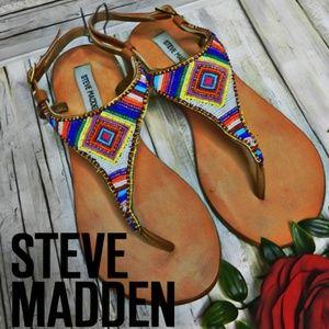 Steve Madden Beaded boho retro leather sandals 9.5